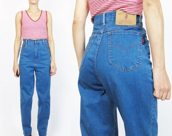 Vintage 90s High Waisted Jeans Stretch Denim Mom Jeans Womens 1990s Jeans Medium Wash Polo Ralph Lauren Tapered Leg Jeans Minimal (M/L) E37