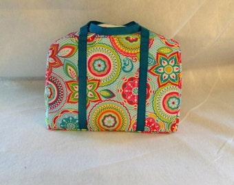 Carrying Case for the Sizzix Big Shot Machine in Bright color Medallion Print Fabric with Turquoise Handles