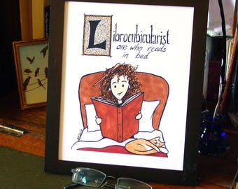 Hermione Reading Word Art - Librocubicularist - fine art print on archival paper