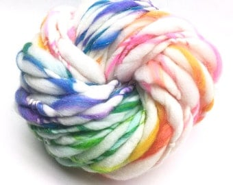 Sparkly rainbow yarn, handspun in super chunky merino wool, silk and gold sparkles - 33 yards, 2.15 ounces and 61 grams