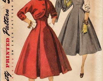 Simplicity 1675 / Vintage 50s Sewing Pattern / High Waist Skirt Jumper And Bolero Jacket / Size 14 Bust 34