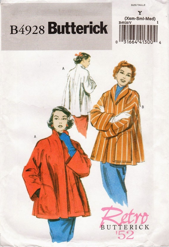Butterick 4928 / Reproduction Sewing Pattern / 1950s Reissue / Swing Jacket / Sizes XS S M
