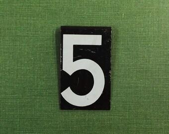 metal sign / number 5 / vintage sign / industrial decor / black & white / metal sign / vintage sign / antique sign / #16