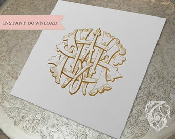 3 Initial Vintage Monogram SWM SMW WSM Three Letter Wedding Monogram Digital Download W S M