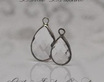 2 Pieces Bezel Set Crystal Clear Glass Teardrop Briolettes Charms Pendants Silver Toned Metal Faceted 2 Sizes