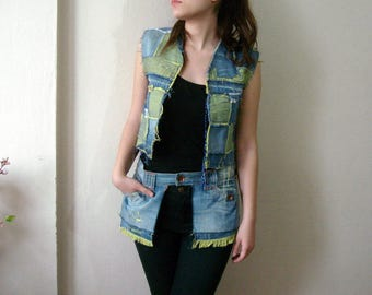 Rag Denim Vest, Jean Vest and Denim Pocket Belt. Bohemian Two Faced Vest Size M Denim Belt