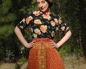 Size M/L... Silk Italian Made Floral Top... Beautiful Roses... Spring Daydreamer