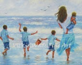 Mother Four Boys Art Print, aqua, beach print, mom, four sons, four boys, beach children, beach kids, beach boys prints, Vickie Wade Art
