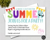 End of the Year Party Invitation, Summer Party,  School's Out for the Summer , Printable Invitation #5314