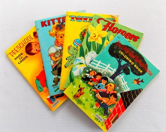 Vintage Children Coloring Book / Flowers / Kittens / Schoolhouse / Toyland / Preschool