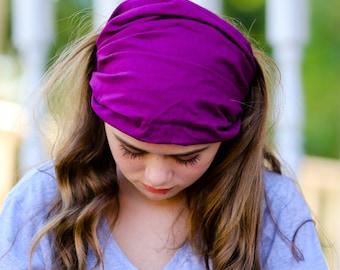 Hair Loss Headcover, Fuchsia Head Wrap, Extra Wide Head Scarf, Bright Purple Solid Headband, Alopecia Headband (#2608) S M L X