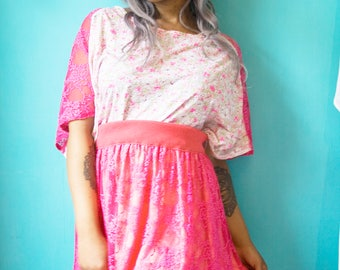 UPCYCLED recycled hot pink lace and jersey skirt with pom pom trim UK size M 12-14-16 kawaii