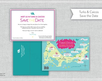 Custom Wedding Map Save the Date (same design but choose your city/location) - Turks and Caicos