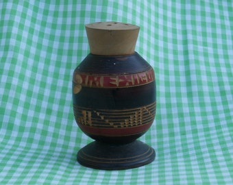 Wooden Mexico Souvenir Salt or Pepper Shaker, Just under 3 inches tall, Turned Wood