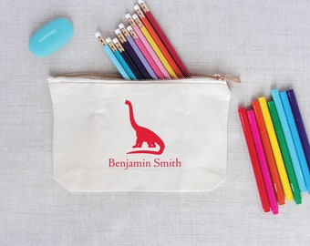 Dinosaur Silhouette Personalized Pencil Pouch | Canvas Zippered Travel Pouch | Monogram School Supply | Make Up Cosmetic Bag | Gift for Kid