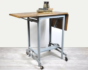 Vintage Typing Table, Typewriter Table on Casters, Rolling Cart, Industrial Decor