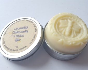 Lavender Chamomile Beeswax Lotion Bar with Tin, Solid Lotion Bar, Storage Tin, Natural, Scented