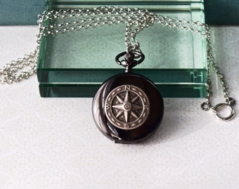 Compass Pocket Watch Necklace Locket Black Onyx Earrings Unique Vintage Nautical Wedding Anniversary Birthday Graduation Womans Gift for Her