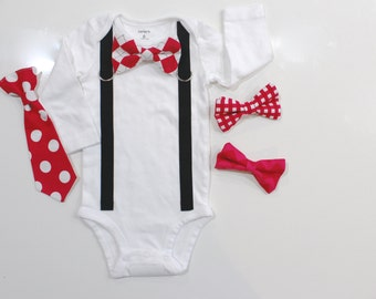 Valentine Bowtie For Baby. Red And Black. Baby Bow Tie And Suspenders. Baby
