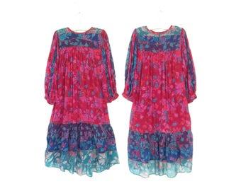 Bohemian Gauze Dress * Vintage 70s Tent Dress * Indian Floral Midi Dress * Small - Medium