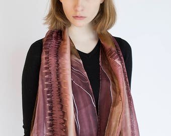 Handpainted silk scarf in shades of rosy brown, chocolate, ivory and sand. Elegant abstract scarf by SingingScarves. Worldwide shipping