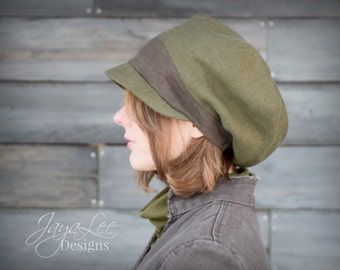 Earth Tones Slouchy Visor Beanie Newsboy Cap Olive Green & Brown Linen