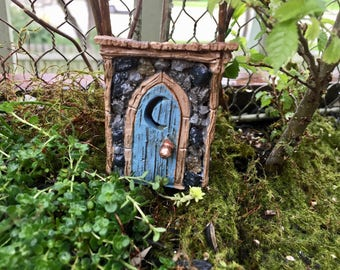 Mini Outhouse, Shingletown Resin Outhouse with Cut Out Moon Door, Fairy Garden Accessory, Miniature Garden Decor, Topper