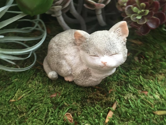 Kitten Figurine, Sleeping Gray Kitty Cat, Style 4573, Fairy Garden Accessory, Miniature Gardening, Home & Garden Decor, Topper, Shelf Sitter