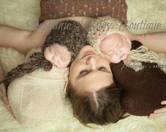 Ready To Ship, Crochet Newborn Baby Boy Girl Mohair Bonnet, Photo Prop, Photography Prop, Shower Gift, Christmas Gift, Neutral Hat