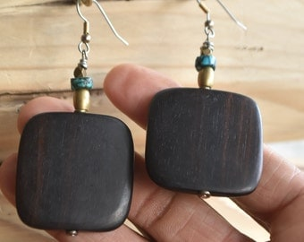 Ebony Wood Flat Square Earrings