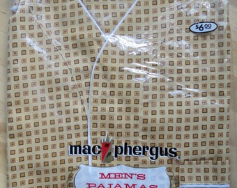 1960s 1970s Men's Tan Brown Pajama Set by MacPhergus - Size A New Old Stock