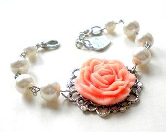 Junior Bridesmaid Gift Peach Wedding Jewelry Girl Birthday Gift Flower Girl Bracelet Peach Bracelet Peach Birthday Theme Jr Bridesmaid Gift