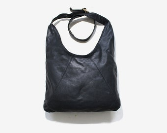 Vintage Leather Tote / Black Leather Shopper / Leather Hobo Bag