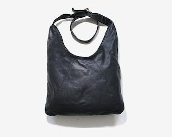 Vintage Leather Tote / Black Leather Shopper / Leather Hobo Bag