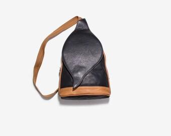 Vintage Leather Backpack / Black Leather Backpack / Leather Knapsack / Sling Backpack / Italian Leather Backpack