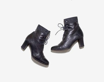 Vintage Ankle Boots 6.5 / Black Leather Boots / Italian Leather Booties / Ankle Boots Women / High Heel Booties