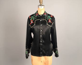 1940s satin western shirt • vintage 40s top • embroidered cowgirl blouse