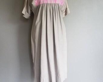 Vintage BOHO Guatemalen MuuMuu Kaftan COTTON FESTIVAL Dress (m-l)