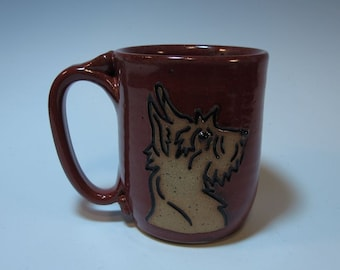 Scottie Dog Puppy Scottish Terrier Mug in Brick Red - Holds 16 ounces - In Stock