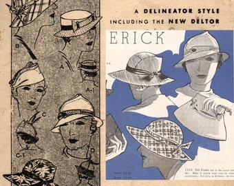 Butterick 5256 RARE 1930s Women's Hats Sewing Patttern Size 22 inch head UNUSED Factory Folds