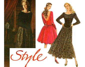80s Style 1651 Full Skirt Low Back Dress Pattern Vintage Sewing Pattern Size 6 8 10 UNCUT Factory Folded