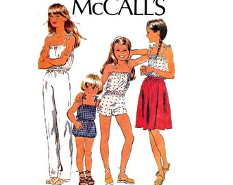 70s Teen Girls Rompers Jumpsuit & Wrap Skirt Pattern McCall's 6598 Size 12 Bust 30 inches