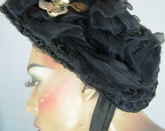Victorian Black Mourning Bonnet Hat
