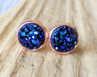 Bermuda Blue Rose Gold Druzy Stud Earrings, Faux Drusy Posts, 10mm Round Rose Gold Studs, Gift For Her, Small Dainty Studs, Bridesmaid Gifts