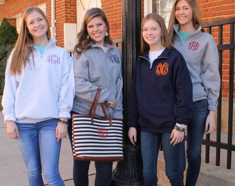 Sale - Monogrammed Quarter  Zip Sweatshirt.. Pullover  ... 1/4 Zip ...  Quick Shipping...