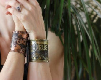Etched Copper New Orleans Jewelry - Cuff Bracelet of Historical Map Legend