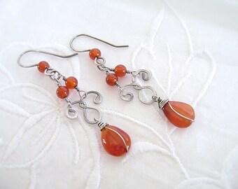Carnelian Silver Earrings, Sterling Silver, Carnelian Chandelier Earrings, Wire Wrapped, Oxidized Silver, 925 Silver, Silver Scroll Ear, 999