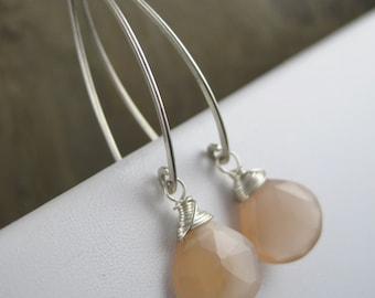 Shimmering Peach Moonstone Briolette Earrings - Faceted Tear Drops -  Sterling Silver Hook Earrings