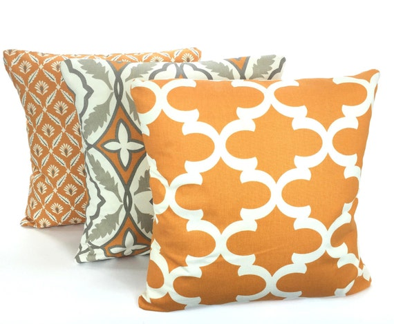 Orange Decorative Pillows Couch : Orange Gray Pillow Covers Decorative Pillows Cushion Orange