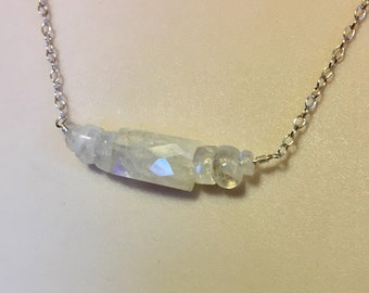 Rainbow Moonstone Bar Necklace Wrapped in Sterling Silver on Sterling Silver Chain 18 Inches Long, One of a Kind